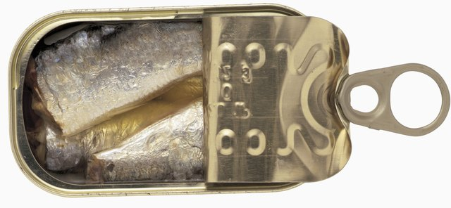 high angle view of an open can of sardines