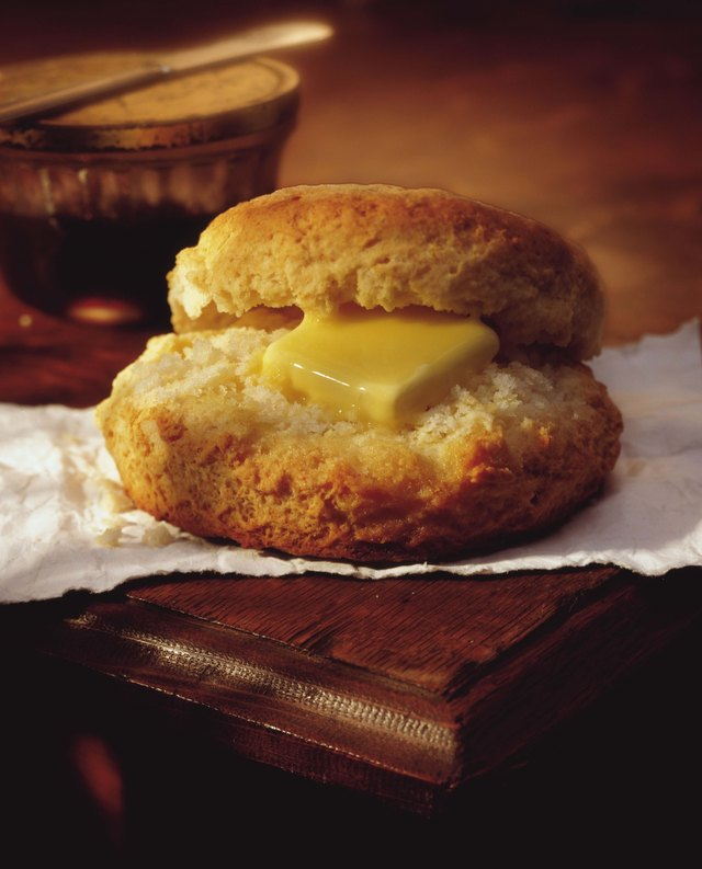 Melting butter on biscuit