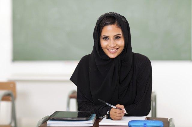 pretty Arabian high school student