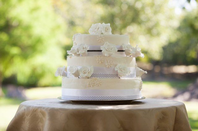 Wedding cake on table at park