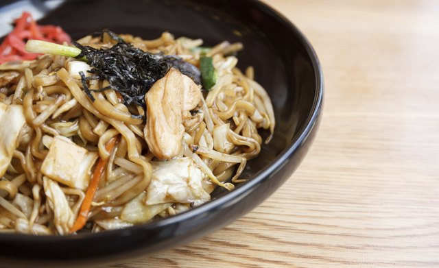 Yakisoba,stir fried noodles with chicken