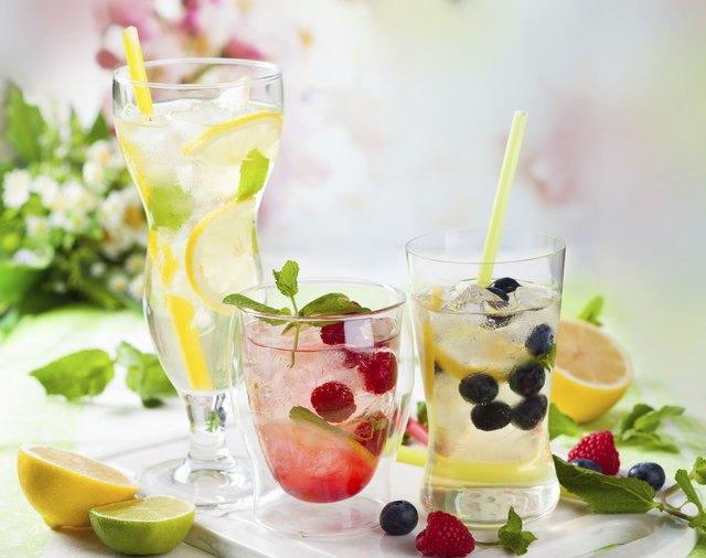 Lemonade with berries and fruits