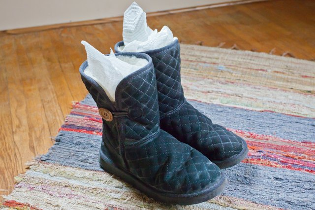 Cover each boot with this solution. Scrub the areas containing dirt, grime, and salt until it is all removed. Immediately, follow this by rinsing each boot ...