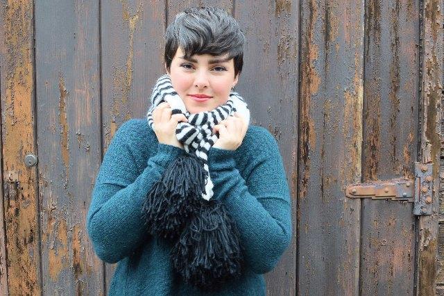 Finished oversized pom-pom scarf